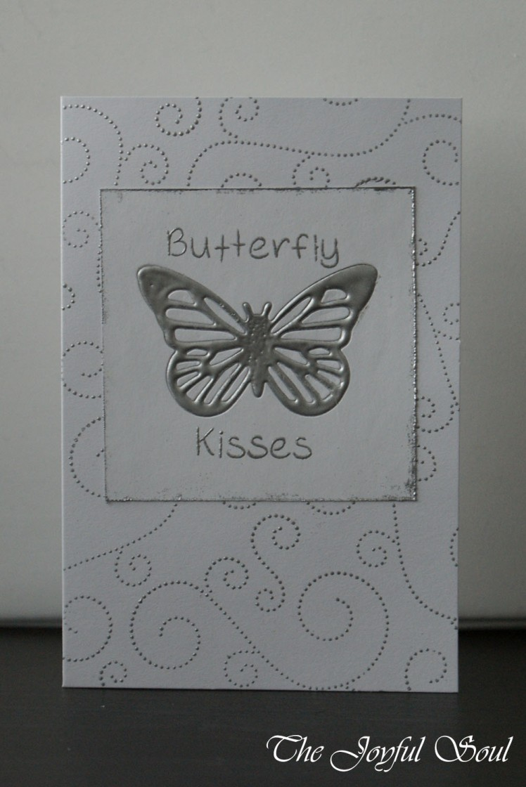 Silver Embossed Butterfly