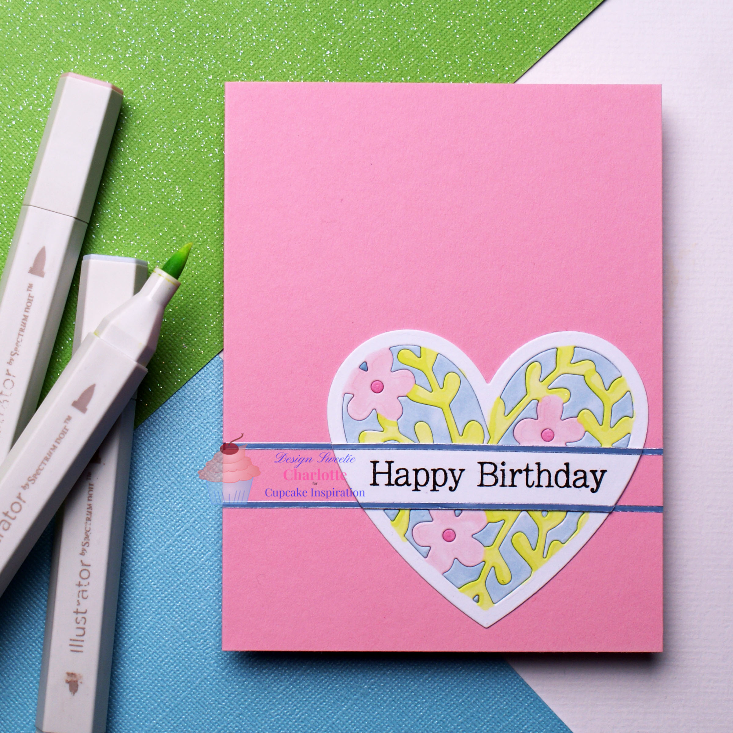 CIC 488 | Floral Birthday Heart | Pink, Pale Blue, Mint